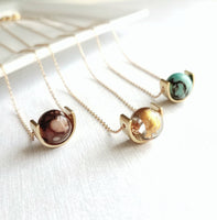 Eclipse Necklace - small watercolor round mottled glue brown spot glass orb bead sphere gold brass half circle - fine delicate chain petite