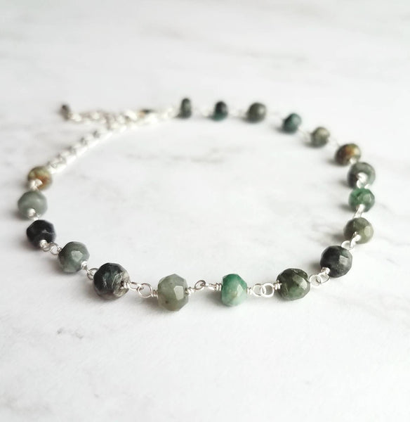 Emerald Stone Bracelet- tiny green shades semi precious gemstone beaded silver chain - ombre tiny facet cut rondelle beads - adjustable