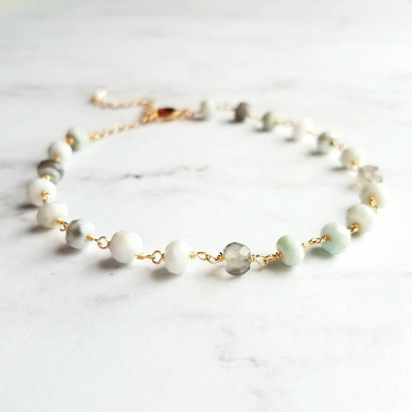 Peruvian Opal Bracelet - pale blue stones - small light mint green blue grey - semi precious tiny Peru gemstone dainty delicate gold chain