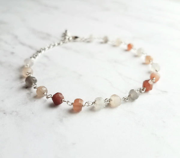 Moonstone Bracelet- delicate beaded gemstone - silver wire dainty chain adjustable - ombre white / peach / grey gray tiny little stones