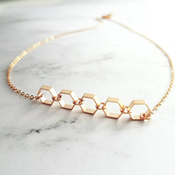 Hexagon Necklace - gold honeycomb geometric link simple minimalist necklace - hexagonal jewelry - geometry math gift - delicate dainty bee
