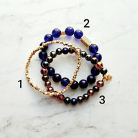 Cobalt Blue Gold Bracelet Set - metallic finish colorful smooth / facet cut dainty little bead nugget chunk CZ pave accent elastic stretch