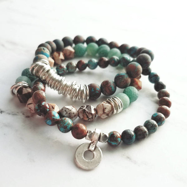 Stone Bracelet Set- calsilica jasper round and facet chunk zebra / fire agate beads - banded stripe brown silver blue green stretch elastic