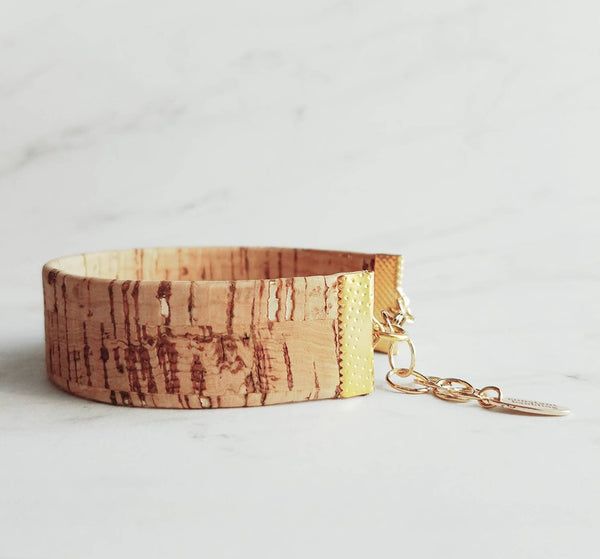 Cuff Bracelet- cork / gold adjustable chain wide bracelet wrap - one size fits most - unique striped tan beige brown wood trendy simple