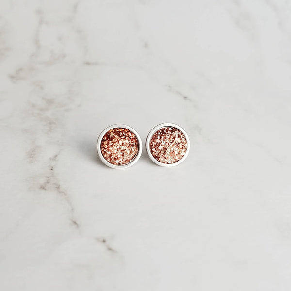 Rose Gold Studs - pink copper colored faux druzy stone - round rough jagged bumpy rock - hypoallergenic stainless surgical steel posts drusy