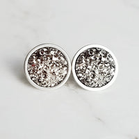 Silver Drusy Earrings - gunmetal grey faux stone little small round rough jagged bumpy rock - hypoallergenic stainless surgical steel druzy