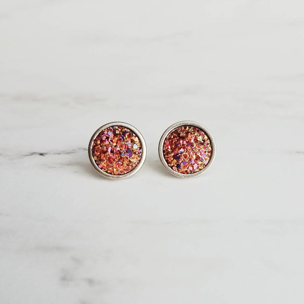 Rainbow Post Earrings - stainless surgical steel faux drusy stone studs - magenta pink orange yellow gold purple - simple rock druzy stone