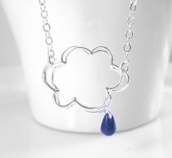 Raindrop Cloud Necklace in Silver - Storm Weather - wire outline w/ dainty delicate dark blue rain drop charm - simple silver plated chain