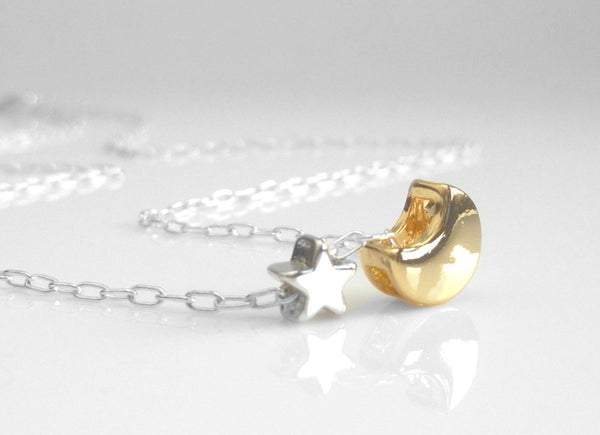 Star Moon Necklace - teeny silver star / tiny gold crescent charm - delicate dainty little silver chain - back small celestial love you