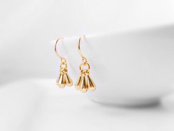 Gold Drop Earrings - tiny dangle teardrop minimalist trio of polished charms on small gold plated hooks