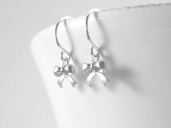 Tiny Silver Bow Earrings - extra small miniature tied ribbon on simple little silver hooks - lucky gift girls minimalist delicate style