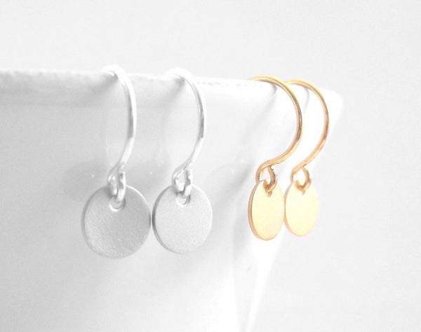Tiny Disc Earrings - extra small mini disk round dangles on delicate little French hooks - CHOOSE GOLD or SILVER little simple child gift
