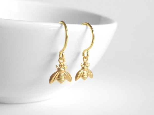 Tiny Bee Earrings - little brass bumblebees buzz on small delicate gold plated hooks - minimalist spring honey hive 14K gold fill option