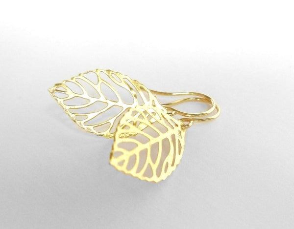 Gold leaf earrings - small delicate modern thin outline filigree leaves - simple cut out design tiny hooks - 14K gold fill hook upgrade
