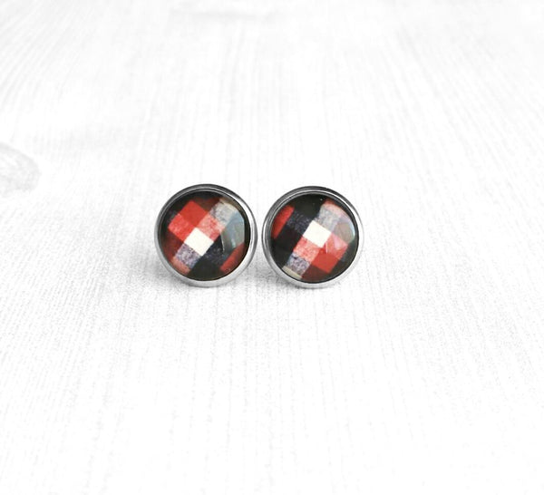 Lumberjack Earrings - red black white buffalo check winter flannel style stainless steel hypoallergenic stud - print under glass small round