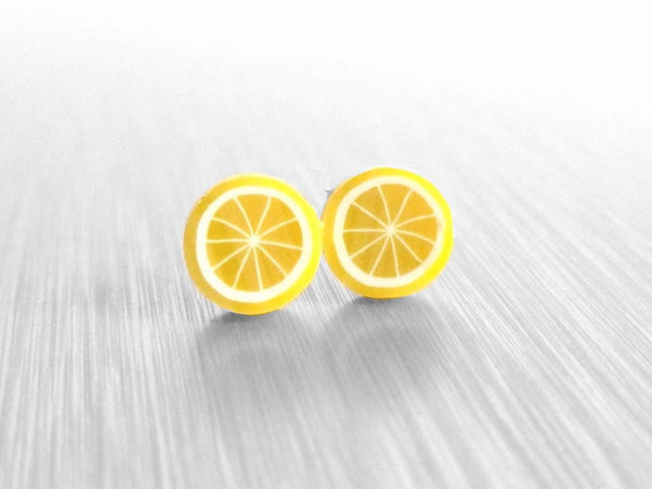 Tiny Lemon Earrings - yellow miniature citrus fruit slice studs on small little pierced surgical steel posts - When Life Hands You Lemons