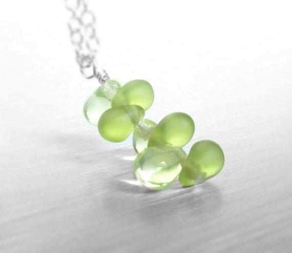 Sprout Necklace - small pale peridot green glass fern frond sprout growing on a delicate silver chain - New Day Beginning - gifts under 30