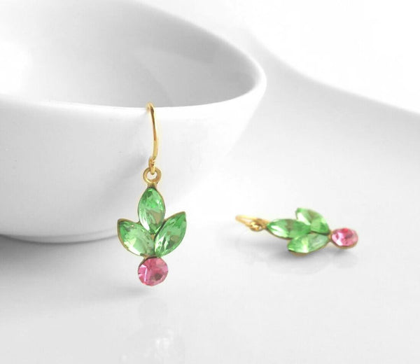 Holiday Earrings - vintage Swarovski rhinestone glam holly berry pink / green - gold raw brass setting - little gold plated simple hooks