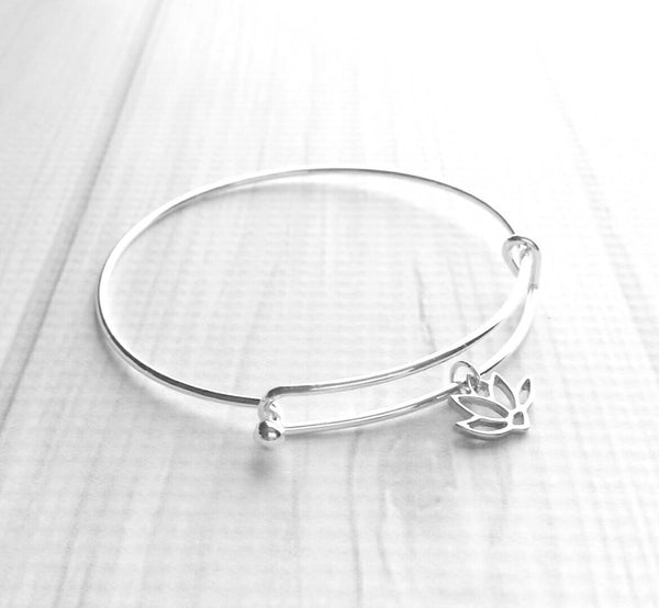Lotus Flower Bracelet - silver bangle w/ simple charm - Hindu Buddhist rebirth beauty from darkness spiritual symbol waterlily purity awaken