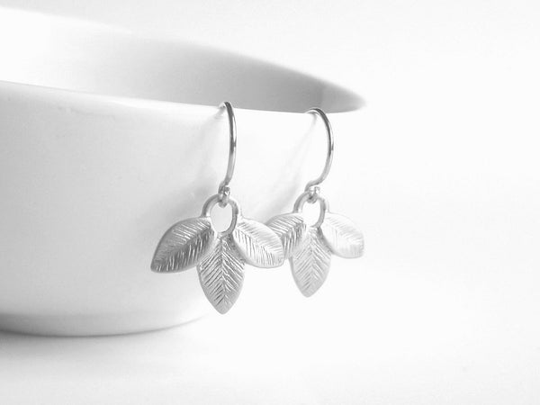 Silver Leaf Earrings - delicate little matte silver plated trio of leaflets dangle on simple little French hooks - wedding bridal jewelry