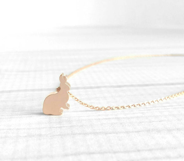 Bunny Rabbit Necklace - sweet little slider pendant in matte pink rose gold - delicate fine thin chain - Easter tiny love small simple charm