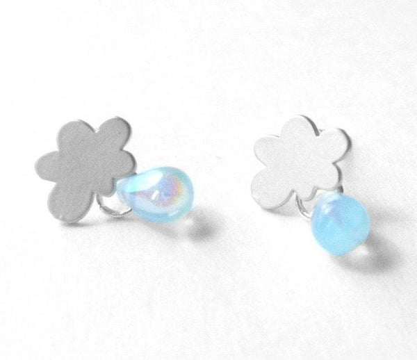 Silver cloud earrings - little minimalist studs with tiny glass raindrops and .925 sterling silver posts - Mini Cumulus