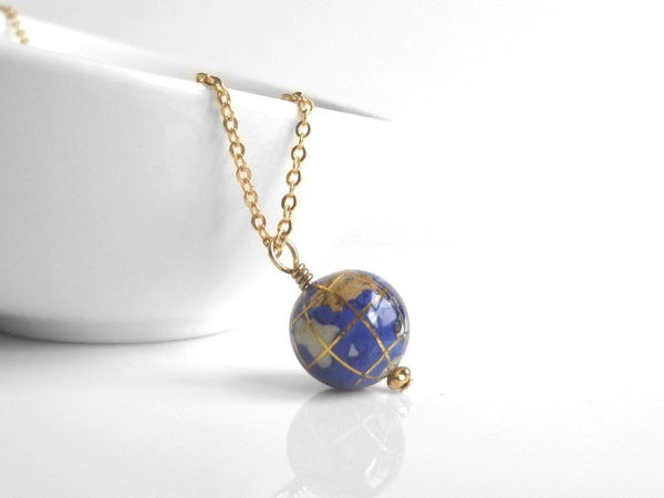 World Necklace - small genuine gemstone globe of Earth w/ lapis lazuli oceans and stone continents - travel friend vacation gift wanderlust
