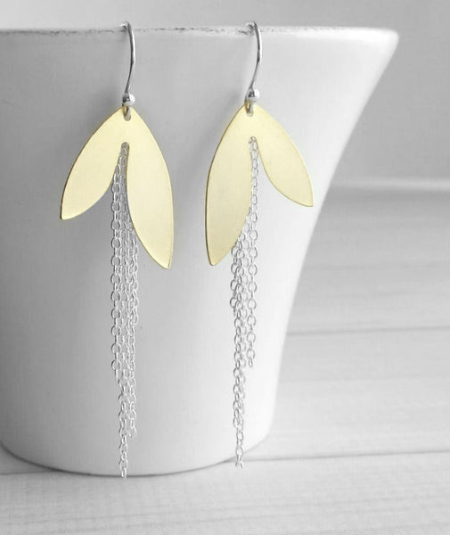 Long Chain Earrings - mixed metal gold / silver leaf petal asymmetrical unique fringe - 925 sterling silver hooks - boho chic gypsy sleek