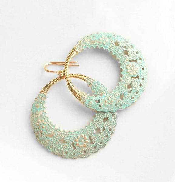 Mint Gold Earrings - lace filigree style rose gold finish hoop - large lightweight blue / green minty dipped round fancy scalloped circle