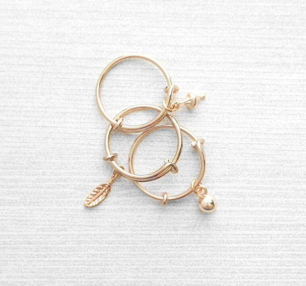 Rose Gold Ring - adjustable pink bangle bracelet style - choose tiny dainty charm dangle ball feather leaf cone - wire loop 5 6 7 8 9 band
