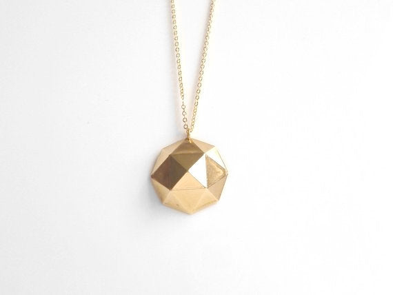 Gold Geometric Necklace - large fun brass polyhedron shape pendant on extra long simple gold plated chain - Triangle Math