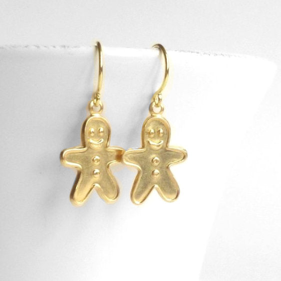 Gingerbread Men Earrings - little brass boy cookie shaped dangles on simple gold hooks - Sweet Ginger Christmas jewelry stocking gift