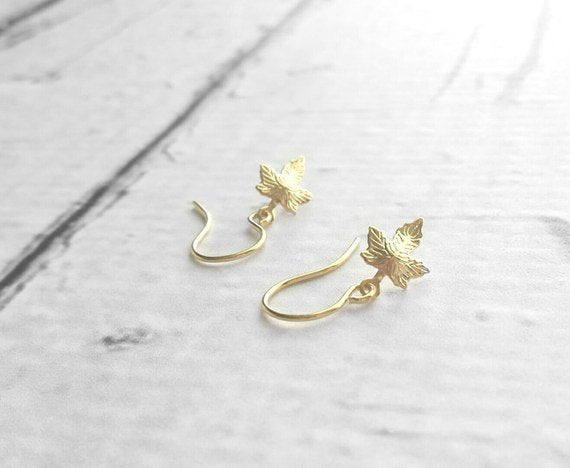 Maple Leaf Earrings - little tiny micro mini gold plated brass leaves - charm dangle extra small size minimalist fall tree autumn child