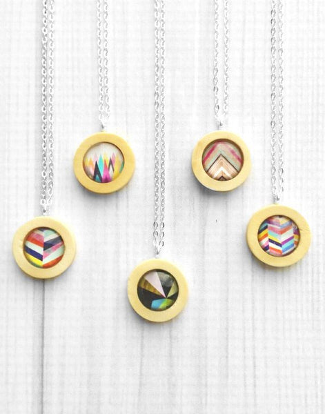 Geometric Print Necklace - bright colorful design wood / glass pendant - simple chain