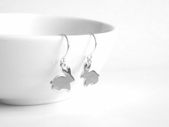 Silver Bunny Earrings - little silver rabbit silhouette hangs from small simple ear hooks - tiny baby bunnies - plain lightweight minimalist