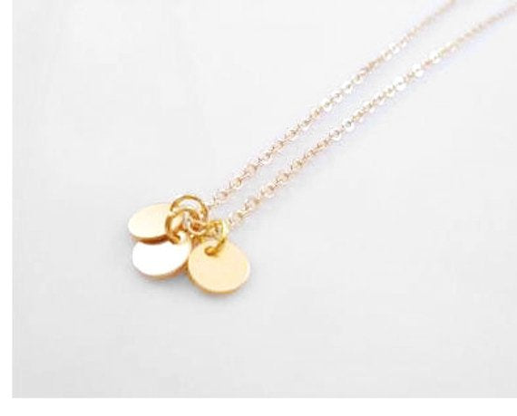 Gold Disc Necklace - tiny simple trio of flat round blank disk charms - delicate gold chain - minimalist flat circle coin everyday style