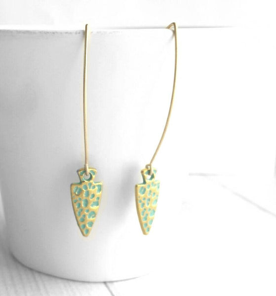 Gold Spear Earrings - long arrowhead tribal style dangle - verdigris patina spotted dot pattern - simple flat boho spearhead arrow triangle