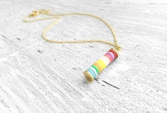 Peace Necklace - rainbow gradient pendant - simple long narrow cylinder - happy colorful hippie love rainy day charm - gold delicate chain