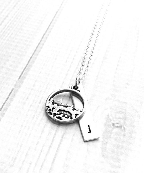 Wanderlust Necklace - forest mama bear mountain scene - rustic antique silver - personalized stamp initial letter tag wander travel camp