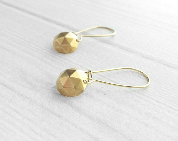 Gold Geometric Earrings - little simple round polyhedron shape charm dangles on locking kidney wires - trendy triangle math unique style