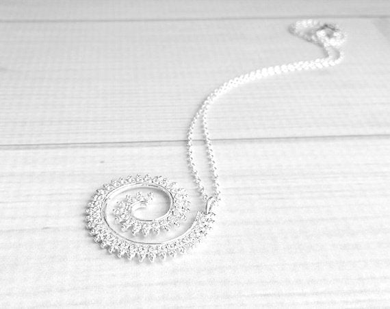 Spiral Necklace - silver swirl pendant princess crown edge wire curl - intricate filigree unique coil fancy romantic - delicate thin chain