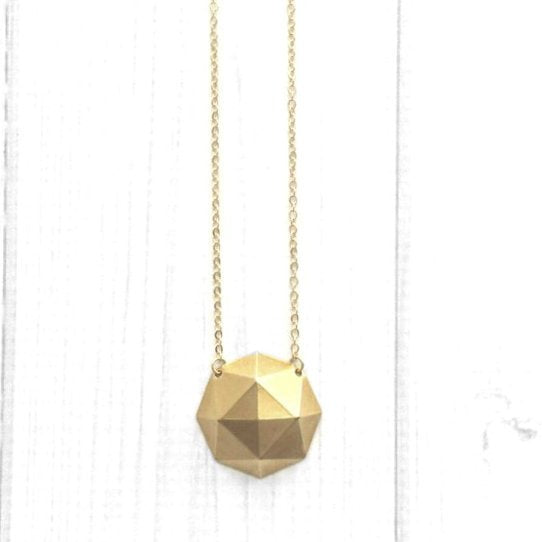 Gold Geometric Necklace - large brass polyhedron dome shape pendant - simple gold plated chain - trendy chic triangle math unique handmade