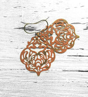 Large Orange Earrings - Moroccan damask filigree cut out in burnt rust patina bronze - thin lightweight intricate design - boho chic style