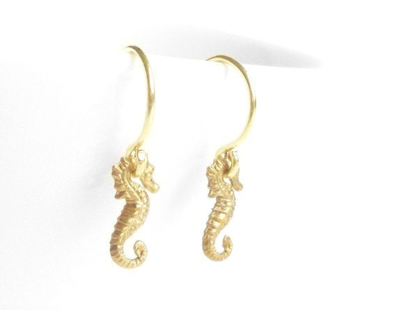 Little Seahorse Earrings - micro tiny extra small gold brass dangles on simple gold plated delicate hooks - minimalist design