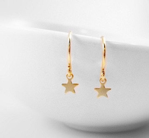Minimalist Star Earrings - micro tiny gold wisp charms dangle on small simple little gold plated ear hooks - Night Sky Little Wishes