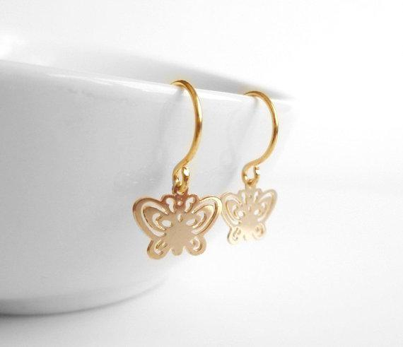 Small Butterfly Earrings - tiny gold butterflies with cut out filigree style delicate design on gold ear hooks - minimalist and intricate