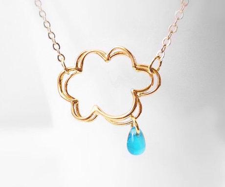 Raindrop Cloud Necklace in gold - Chance of Rain Showers - sweet little electric blue drop - dainty petite delicate simple gold plated chain