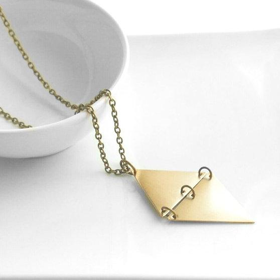 Geometric Necklace - extra long chain - antique brass finish - gold diamond shape hinged pendant - triangle trendy unique gifts for her