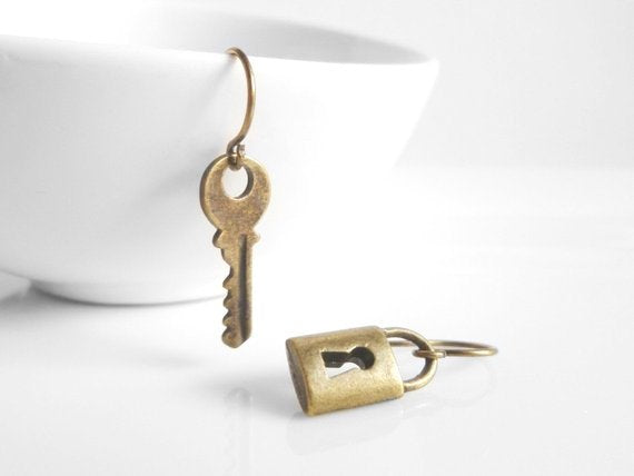 Lock and Key Earrings - sweet little mismatched asymmetrical pair in antique brass / bronze on delicate simple light hooks padlock house key