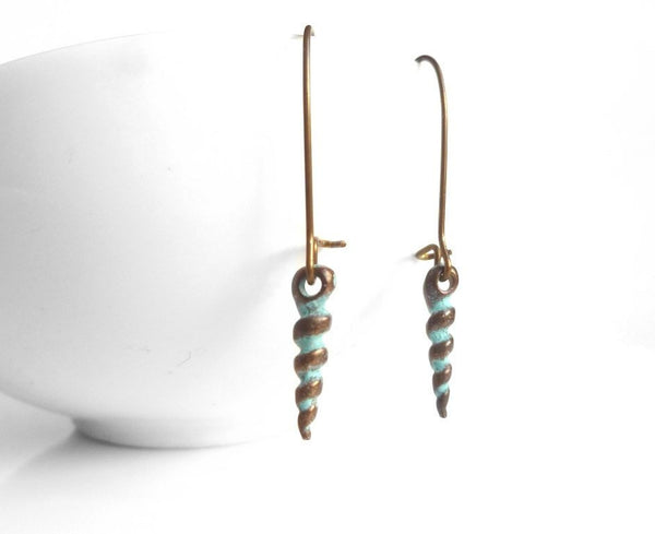 Seashell Earrings - little aged copper / bronze coiled spiral auger style charm dangles - kidney ear hook - green verdigris patina accents